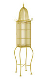 empty golden birdcage isolated on white background