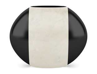 black and beige ceramic vase isolated on white background