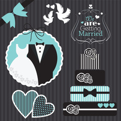 wedding card set vector illustration