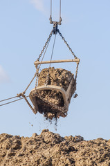 the excavator bucket foreground in operation