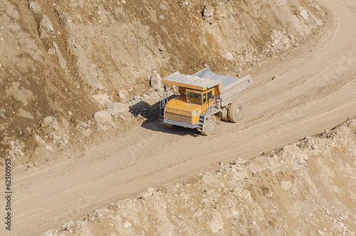 Career truck career for the extraction of gypsum