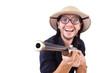 Funny hunter wearing safari hat