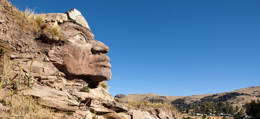 Huge Inca Face on the mountain, Peru