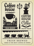 Fototapety set of design elements on the subject of coffee