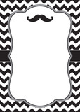Mustache invitation card template with white frame for your text