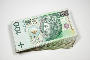 Polish money in denominations of 100 PLN