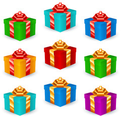 Square Gift Boxes (Multicolor version); eps8