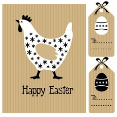 Cute easter card with hen, eggs, invitation, vector