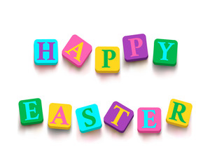 "Words ""happy easter"" with colorful blocks"