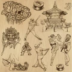 KOREA_3. Set of hand drawn illustrations into vectors