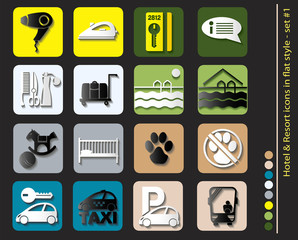 1 Hotel icons - set in flat style