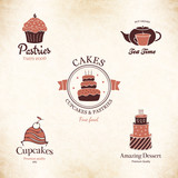 Label set for restaurant menu, bakery and pastry shop