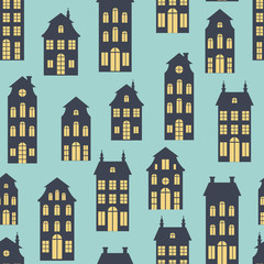 Seamless vector background with holland houses