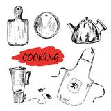 Set of kitchen utensils Hand drawn illustrations