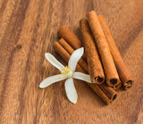 Cinnamon sticks with lemon flower