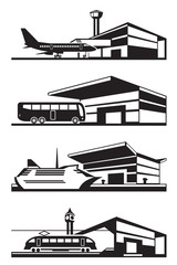 Transport stations with vehicles - vector illustration