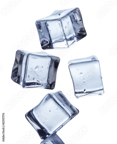 Falling ice cubes on white background