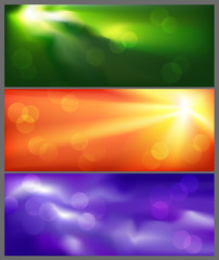 Lighting effect banners. Vector illustration.
