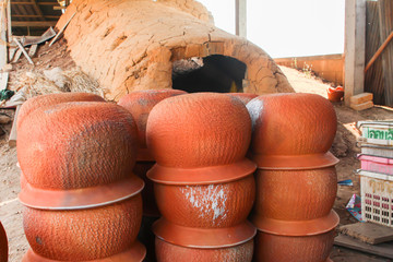 Old  pottery kiln and pots