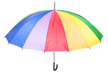 Colorful rainbow umbrella, isolated on white
