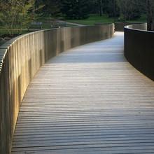 Paysage de printemps: coucher de soleil sur le pont dans le parc