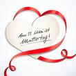 Herzförmige Schleife, Karte - Memo Muttertag 2014