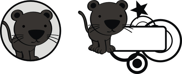 panther baby cute cartoon sticker