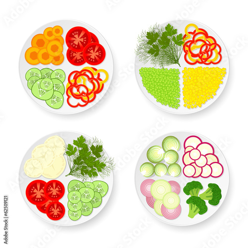 Plates with vegetables