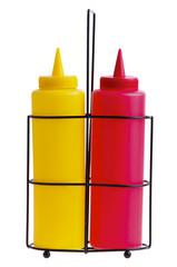 Bottles of Ketchup and Mustard.
