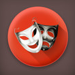 Theater masks long shadow vector icon