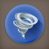 Tornado long shadow vector icon
