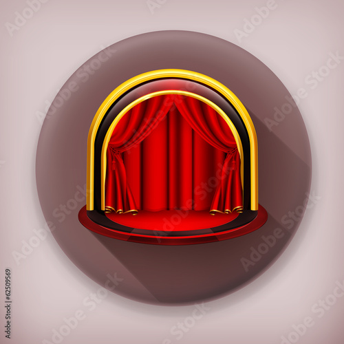 Theatre Stage long shadow vector icon
