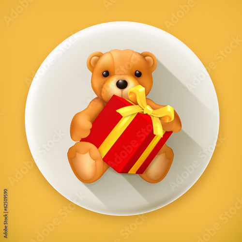 Teddy bear with gift long shadow vector icon