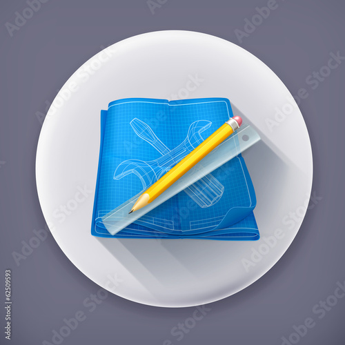 Technical drawing long shadow vector icon