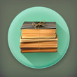 Stack of old books long shadow vector icon
