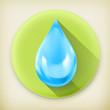 Blue water drop, long shadow vector icon