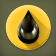 Black oil drop, long shadow vector icon