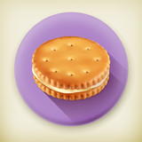 Cookie with cream, long shadow vector icon