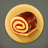 Chocolate roll cake, long shadow vector icon