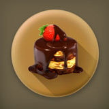 Cake with strawberry long shadow vector icon