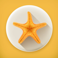 Starfish, long shadow vector icon