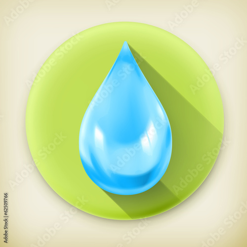 Blue water drop, long shadow vector icon
