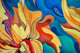 Fototapety decorative flower painting by oil on canvas, illustration