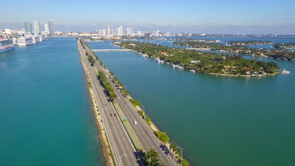 Aerial video Macarthur Bridge Miami Beach