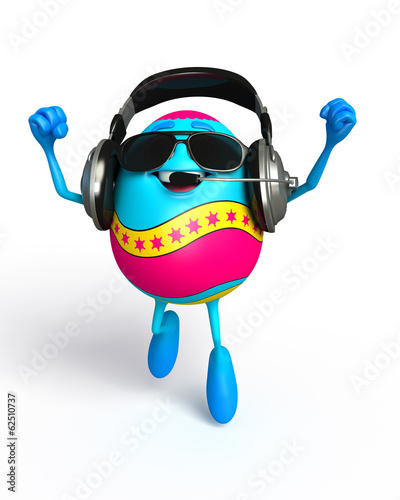 Happy Easter Egg with headphone