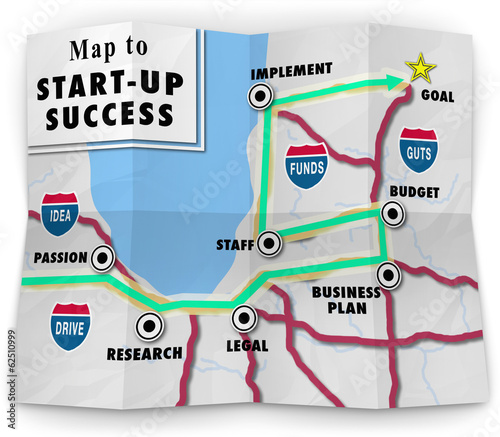Map Start Up Success Road Directions Launch New Business Company