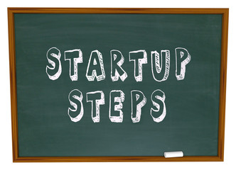Startup Steps Words Chalk Board Learning New Business Management