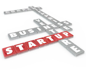 Startup Word Tiles Business Company Enterprise Venture