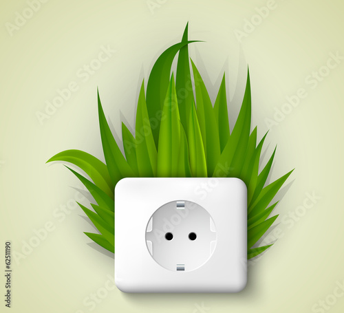 Green socket with grass