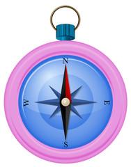 A pink compass